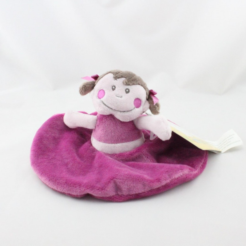 Doudou plat rond poupée fille rose violet KIMBALOO