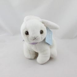 Doudou lapin blanc collier mauve coeur NICOTOY