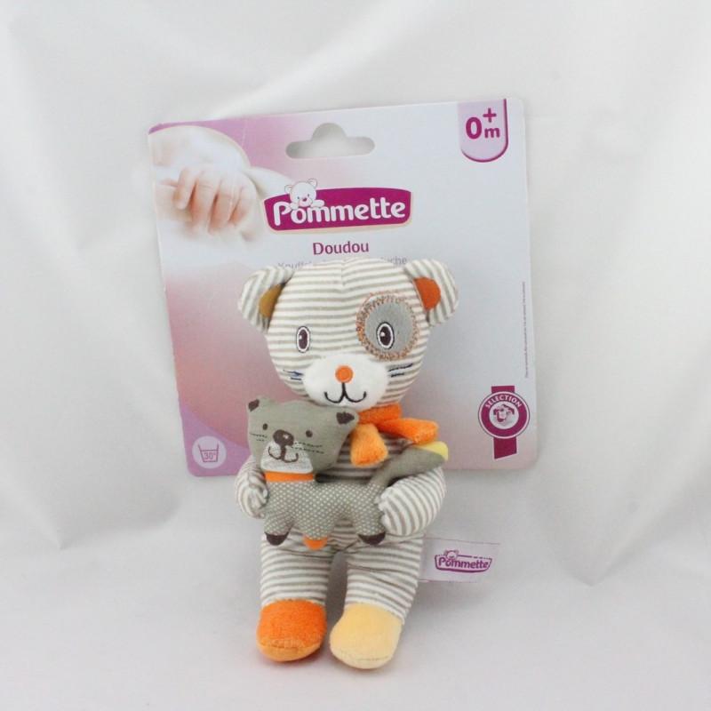 Doudou ours beige orange jaune rayé chat POMMETTE