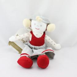 Doudou poupée fille robe rouge blanc pois BERLINGOT Neuf