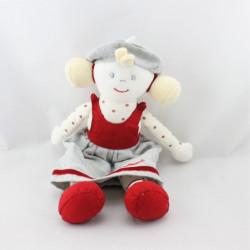 Doudou poupée fille gris rouge blanc pois BERLINGOT Neuf