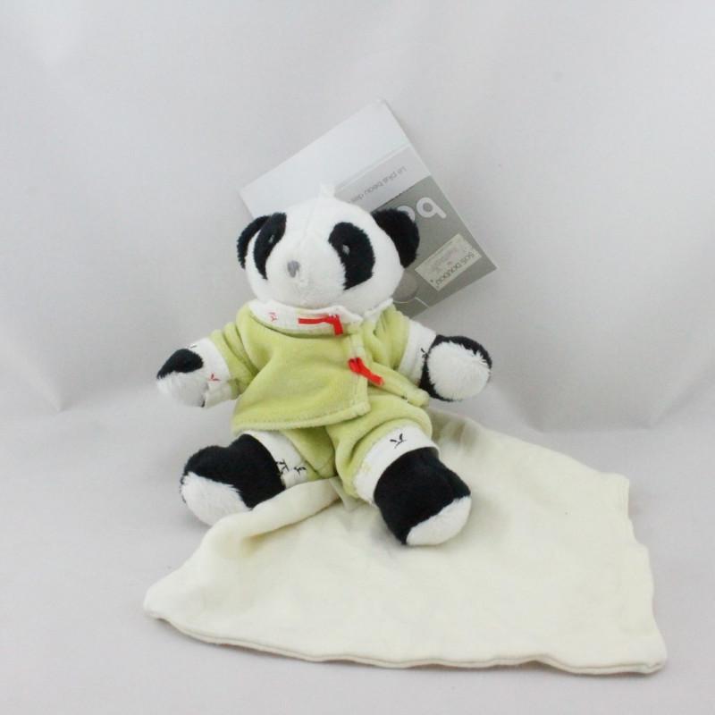 Doudou panda pyjama vert mouchoir BERLINGOT