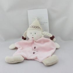 Doudou plat poupée fille rose Babouche BBERLINGOT