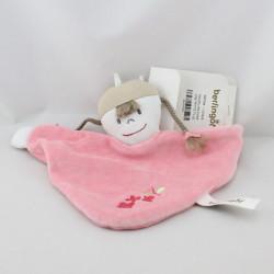 Doudou plat poupée fille rose BERLINGOT