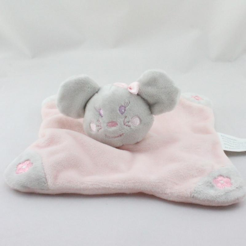Doudou plat souris grise rose fleurs KIMBALOO NEUF