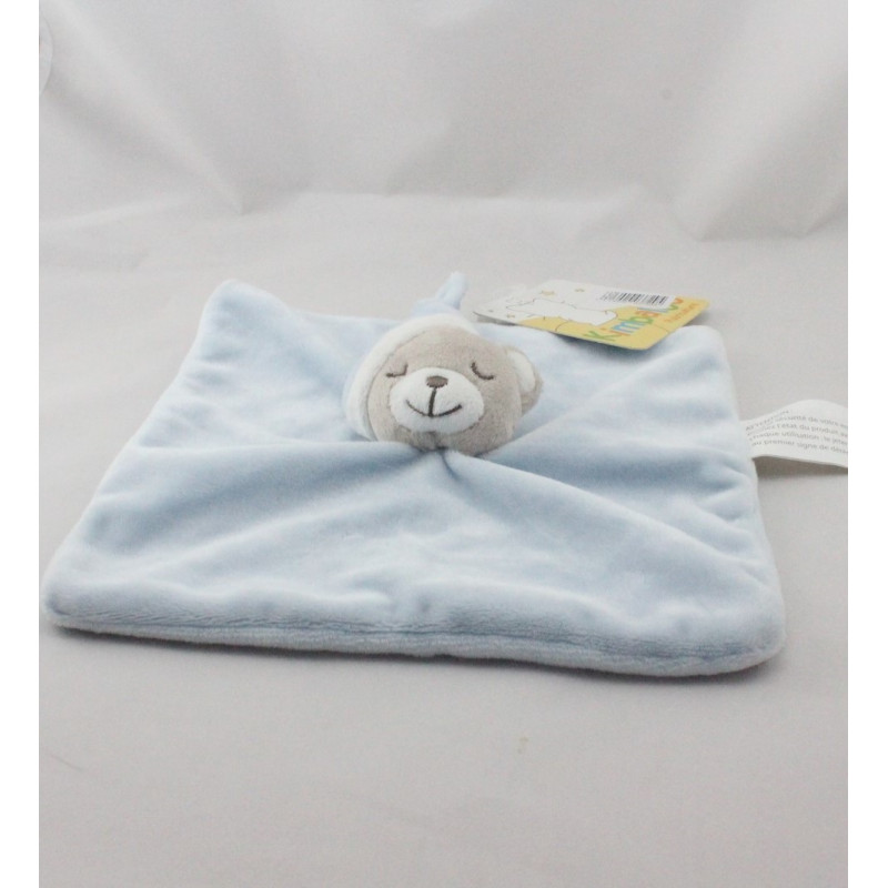 Doudou plat ours gris blanc bleu KIMBALOO