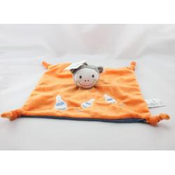 Doudou plat singe orange bleu quilles brodées KITCHOUN KIABI NEUF