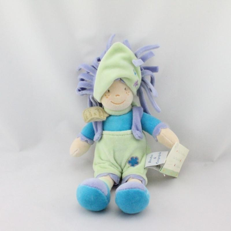 Doudou poupée lutin fille mauve bleu vert DOUDOU ET COMPAGNIE