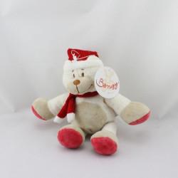Doudou ours blanc beige bonnet écharpe rouge BENGY