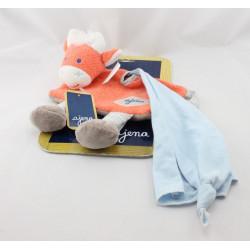 Doudou plat vache orange marron mouchoir bleu AJENA