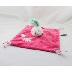 Doudou plat lapin rose vert fleurs TOODO