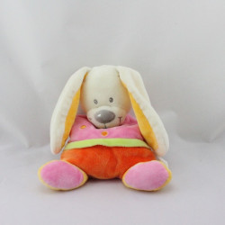 Doudou semi plat lapin orange rose coeur NICOTOY