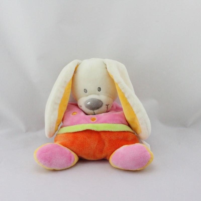 Doudou semi plat lapin orange rose coeur NICOTOY