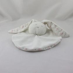 Doudou plat rond lapin blanc landau rose