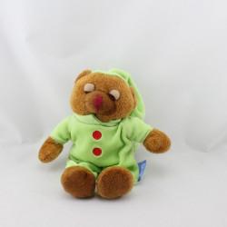Doudou ours brun pyjama vert DOUDI