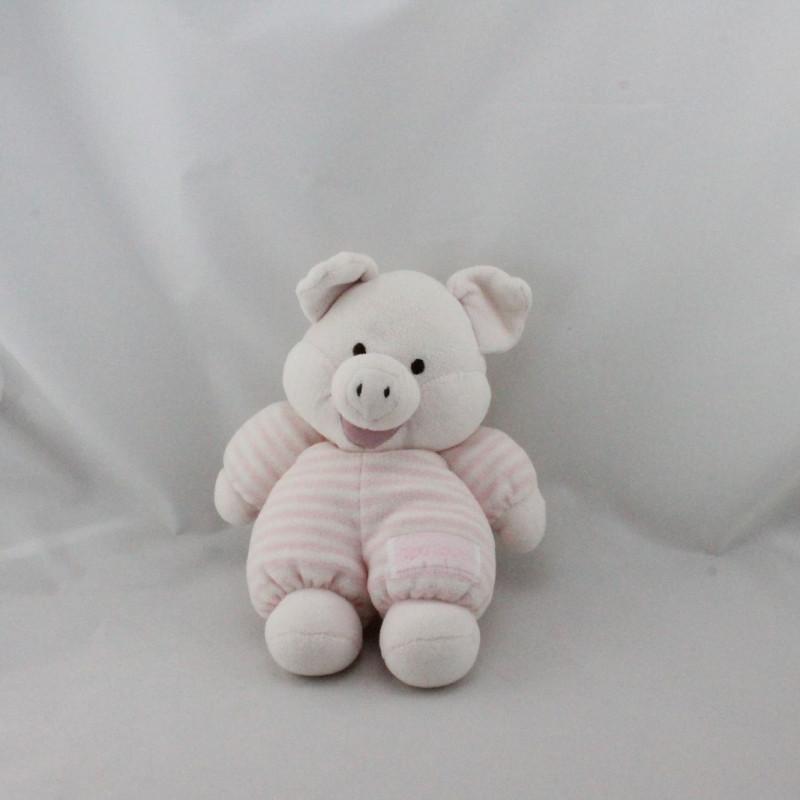 Doudou cochon rose rayé NOUNOURS