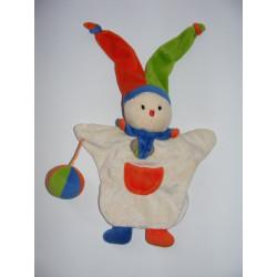 Doudou plat marionnette clown arlequin  DOUDOU ET COMPAGNIE