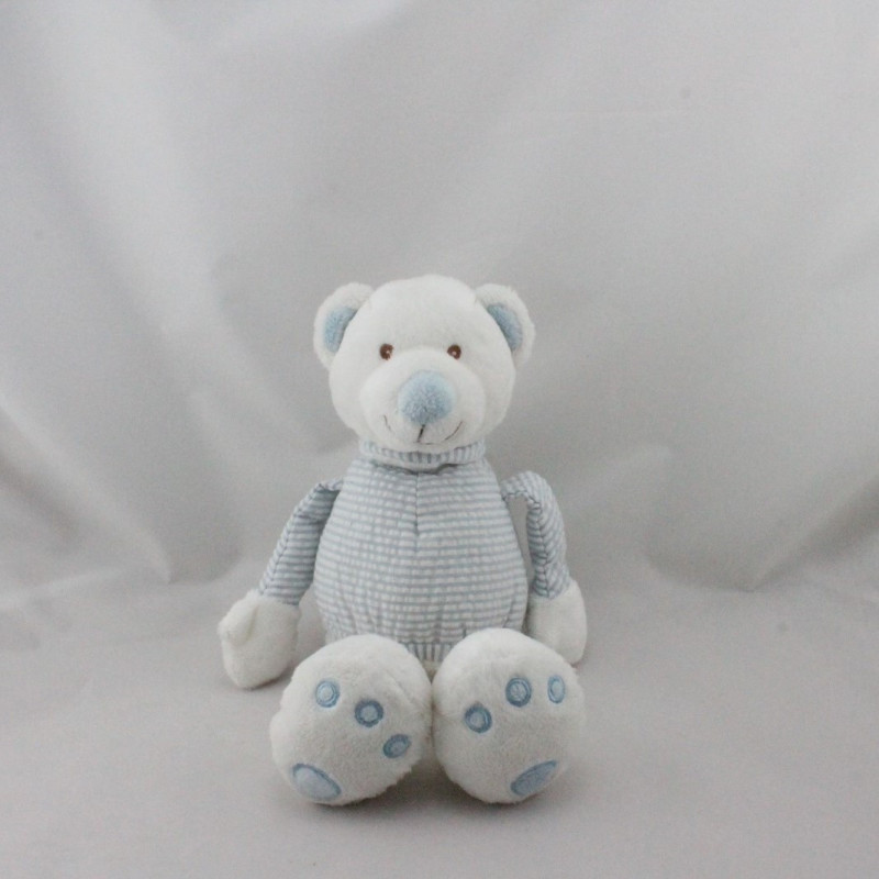 Doudou ours blanc bleu rayé