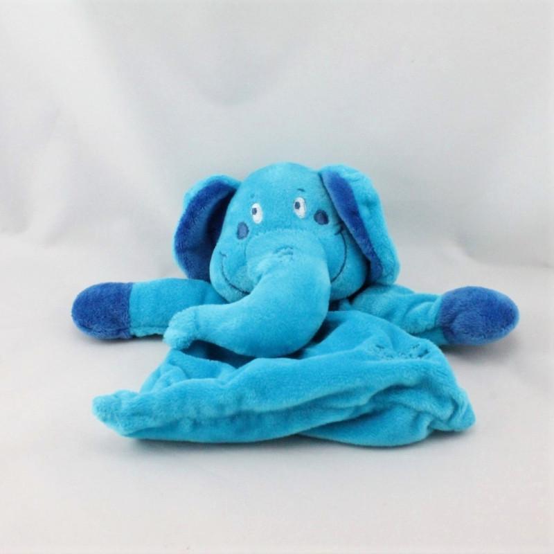 Doudou plat éléphant bleu TIAMO