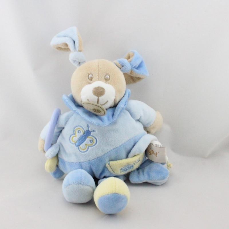 Doudou lapin bleu jaune papillon anneau Milo BABY NA