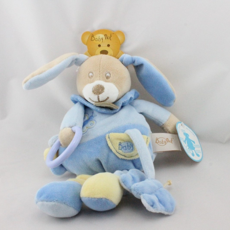 Doudou lapin bleu jaune papillon anneau Milo BABY NAT