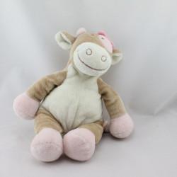Doudou vache Lola Rosalie beige blanche rose NOUKIE'S