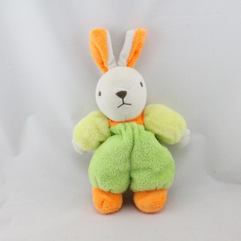 Doudou lapin blanc vert orange jaune NOUNOURS