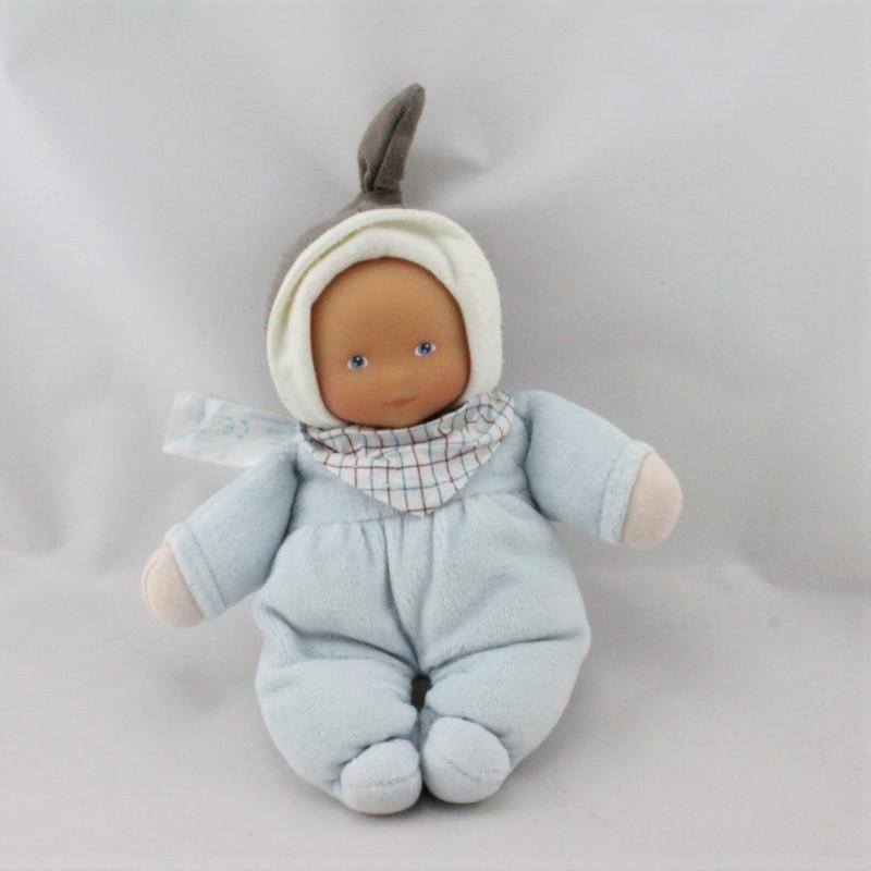 Doudou poupon bébé bleu marron carreaux COROLLE 2008