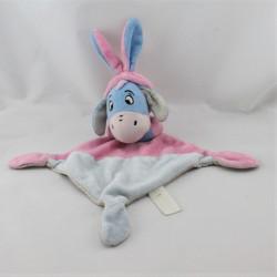 Doudou plat Bourriquet lapin bleu rose pois DISNEY