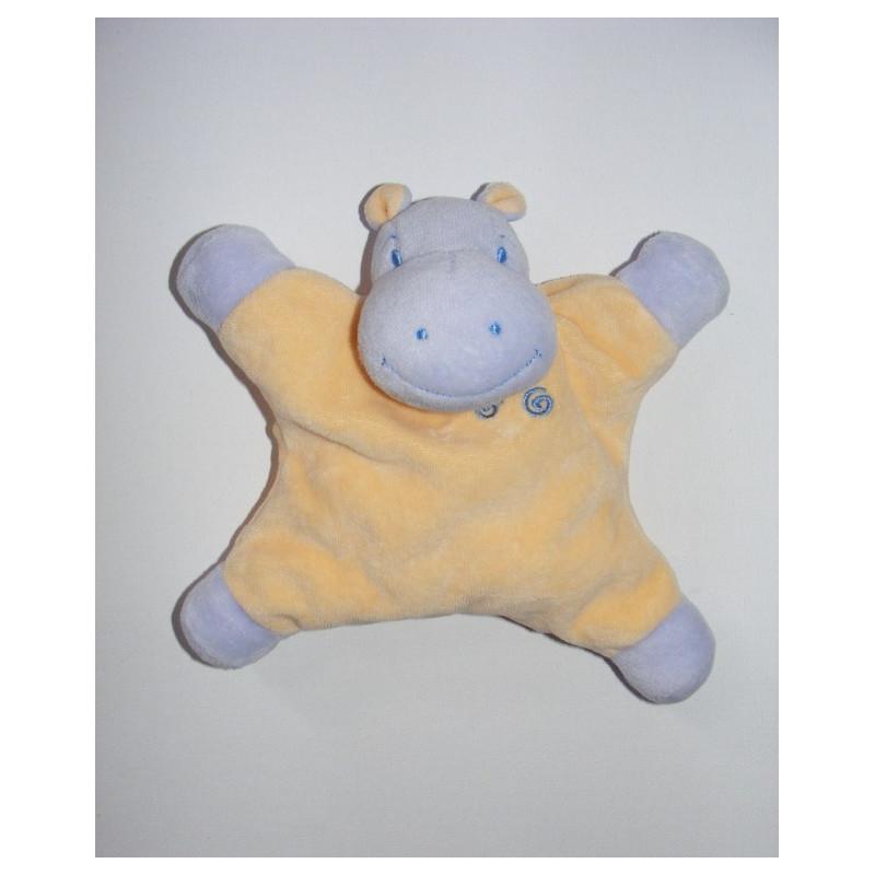 Doudou plat hippopotame mauve jaune JOLLYBABY