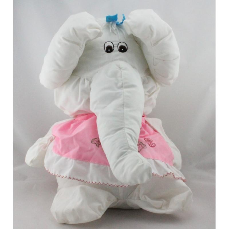 Peluche Puffalump éléphant blanc rose Kiss Me
