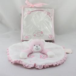 Doudou plat ours rose blanc papillons Bontoys Piccinopiccio