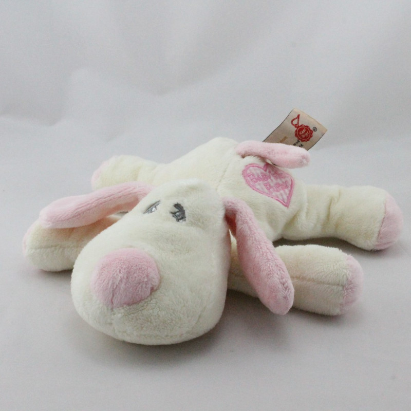 Doudou chien blanc rose Baby's 1st Puppy KEEL TOYS