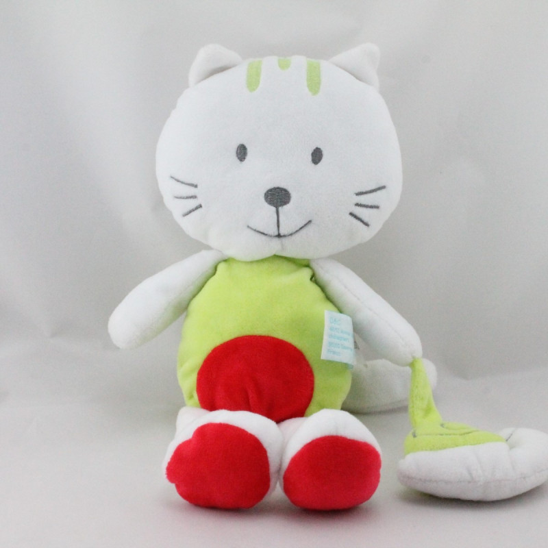 Doudou chat blanc vert rouge escargot BABY NAT