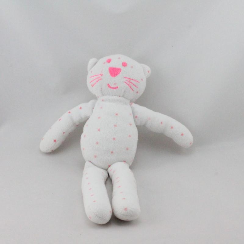 Doudou chat blanc rose étoiles BOUT'CHOU BOUTCHOU
