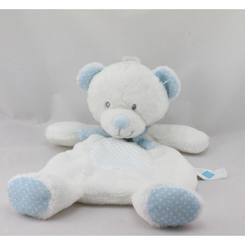 Doudou plat ours blanc bleu pois TEX BABY