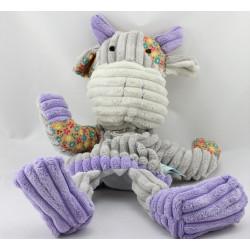 Doudou marionnette vache grise mauve côtelés fleurs Baby nat