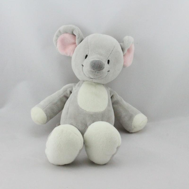 Doudou souris grise blanche NICOTOY