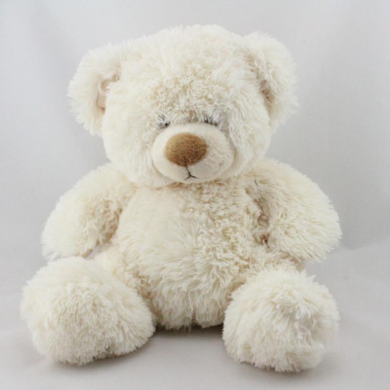 Doudou peluche ours blanc écru MAXITA