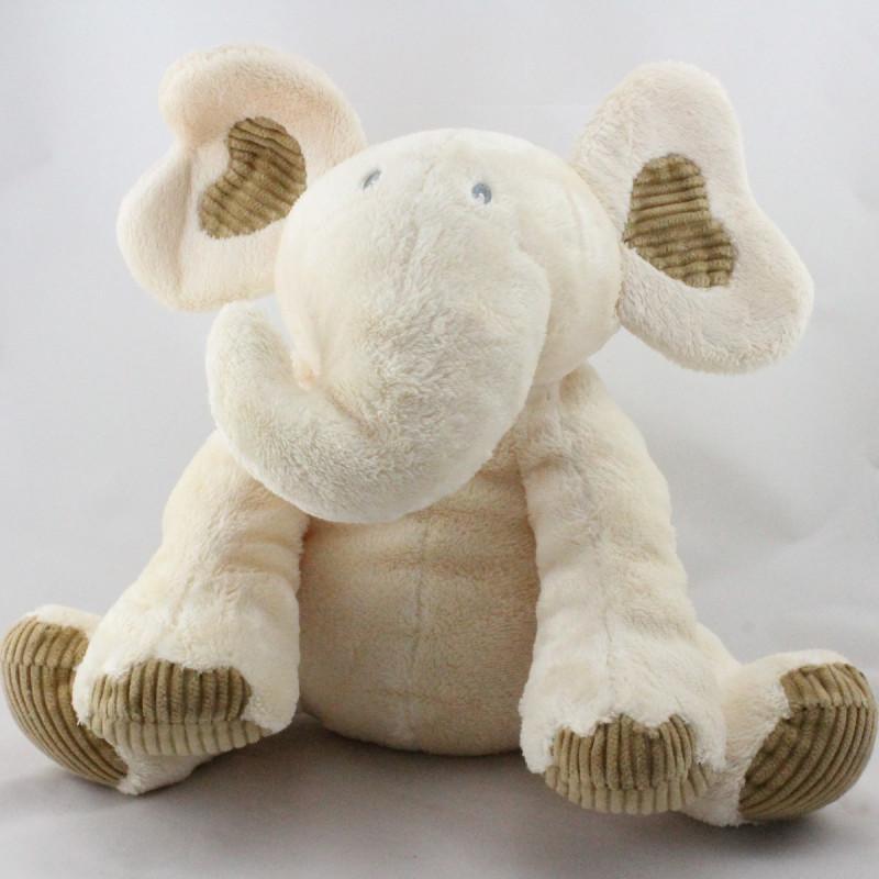 Doudou éléphant blanc écru beige SOFT FRIENDS
