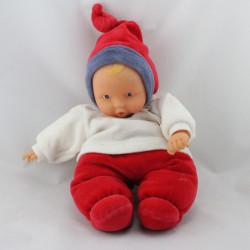 Doudou bébé poupée Baby Pouce rouge blanc bleu COROLLE