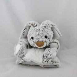 Doudou marionnette lapin beige marron blanc RODADOU RODA