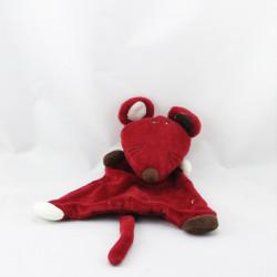 Doudou plat souris rouge bordeaux BOUT'CHOU BOUTCHOU