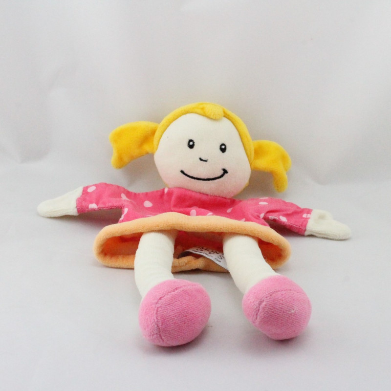 Doudou plat marionnette poupée rose orange pois EGMONT TOYS