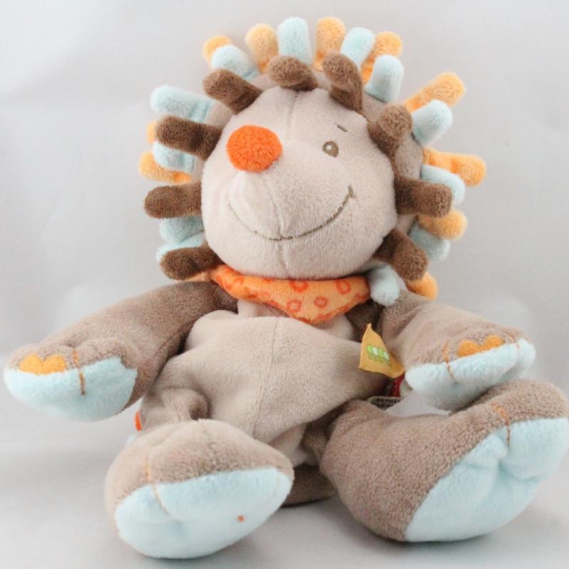 Doudou hérisson marron bleu orange NATTOU
