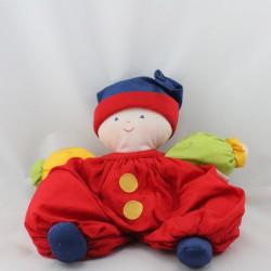 Doudou lutin arlequin clown rouge bleu vert jaune COROLLE