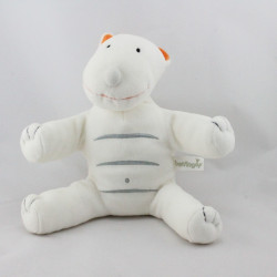 Doudou chat blanc orange gris BERLINGOT