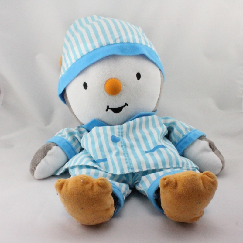 Grand Doudou Tchoupi rayé bleu range pyjama JEMINI