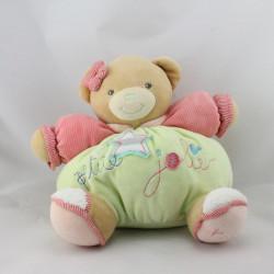 Doudou ours vert rose Petite Jolie Bliss KALOO