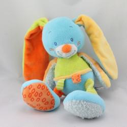 Doudou musical lapin bleu vert orange Funny Farmer NATTOU